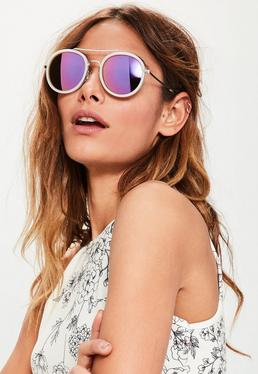 Silver Rounded Metal Inlay Sunglasses