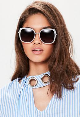 White Matte Frame Square Sunglasses