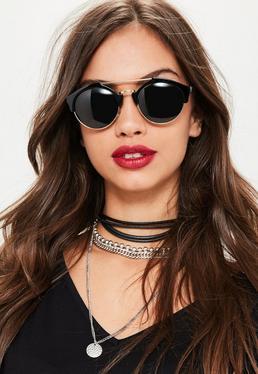Black Metal Brow Bar Sunglasses