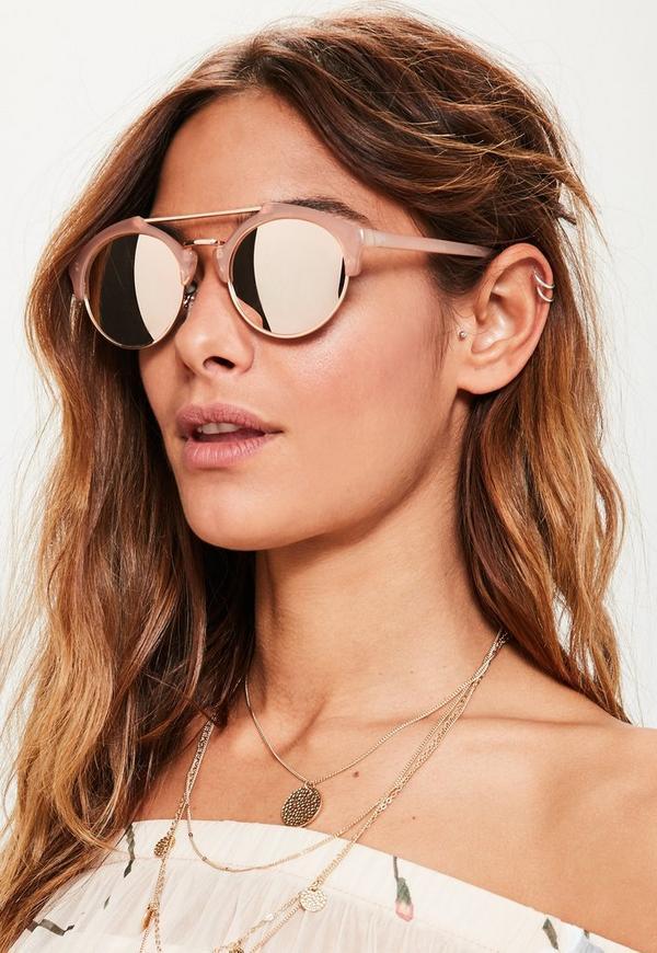 Rose Gold Metal Brow Bar Mirrored Sunglasses