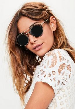 Brown Tortoiseshell Metal Brow Bar Sunglasses