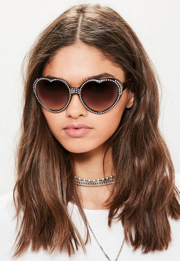 Brown Diamante Studded Heart Sunglasses