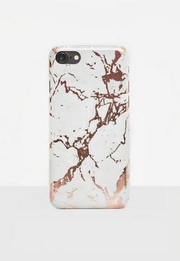 Coque pour iPhone 7 marbrée couleur or rose