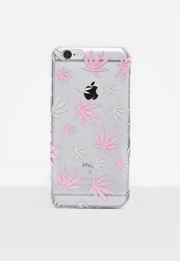 Pink Glitter Leaf I Phone 6 Case