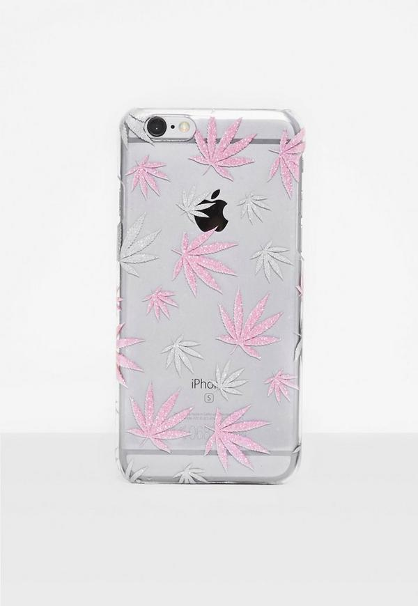 Pink Glitter Leaf I Phone 6 Case