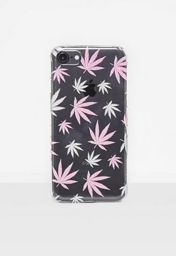 Clear Glitter Leaf iPhone 7 Case