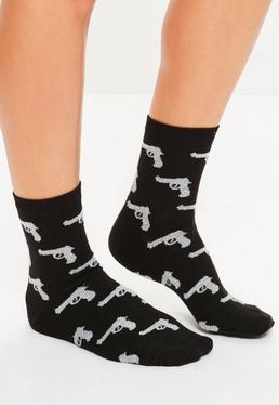 Black Lurex Gun Graphic Ankle Socks