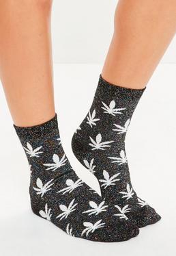 Black Lurex Leaf Ankle Socks