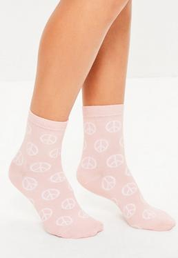 Chaussettes roses avec motifs peace and love