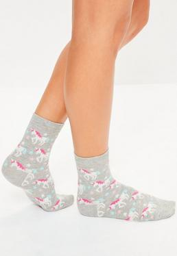 Grey Unicorn Ankle Socks