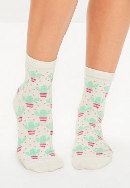 White Cactus Ankle Socks