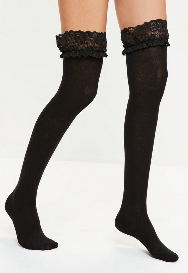 Black Over The Knee Lace Top Socks