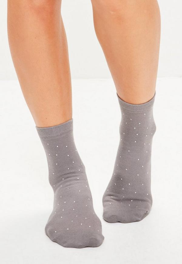 Grey Stud Detail Ankle Socks