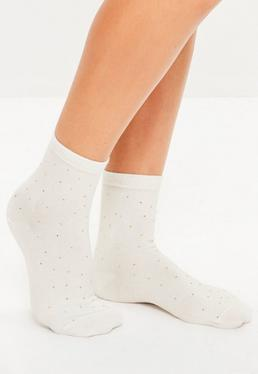 White Stud Detail Ankle Socks
