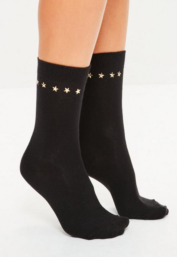 Black Star Studded Ankle Socks