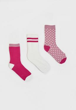 3er Pack Gemusterte Socken in Pink