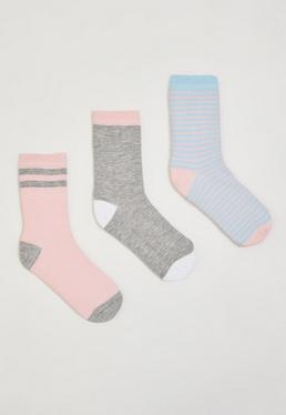 Set de 3 calcetines a rayas en multicolor
