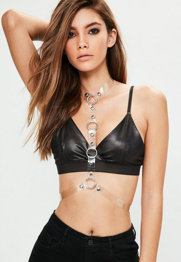 Clear Ring Detail Body Harness