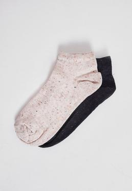 2 Pack Speckled Trainer Socks