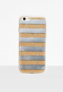 Coque d'iPhone 6/6S argentée à rayures et paillettes