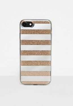 Złoty pokrowiec na telefon w lustrzane i brokatowe paski Iphone 7
