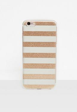Silver Glitter Mirror Stripe iPhone 6 Plus Case