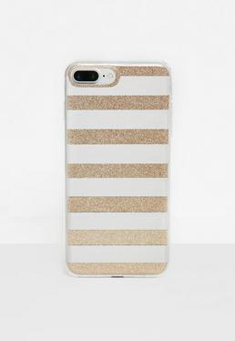 Silver Glitter Mirror Stripe iPhone 7 Plus Case
