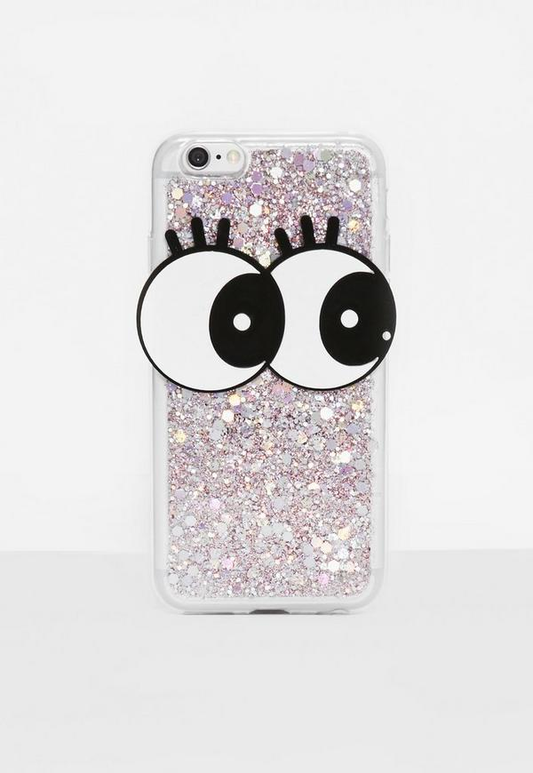 Clear Glitter Eyes iPhone 6 Case