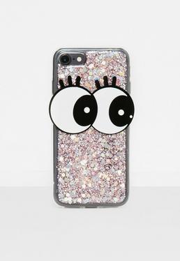 Funda para iphone 7 con ojos y purpurina en rosa