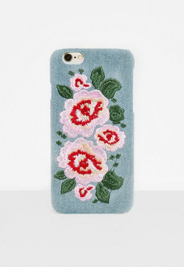 Blue Denim Floral Embroidered I Phone 7 Case