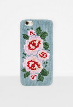 Niebieski pokrowiec na telefon w haftowane kwiaty iPhone 7