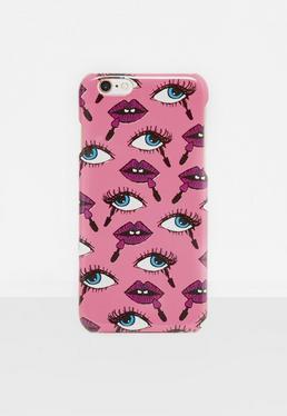 Coque pour iPhone 6/6s rose imprimé bouches