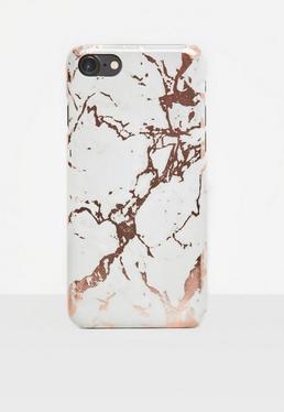 Coque d'iPhone 7+ rose dorée à imprimé marbre