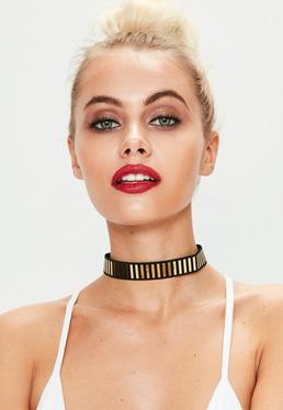 Black Stretch Bar Choker Necklace