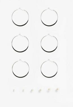 Silver Ball and Hoop Earrings