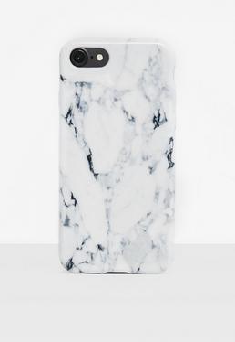 iPhone 7 Plus Hülle im Marmor-Muster in Weiß