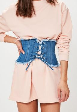 Blue Denim Frayed Edge Waist Belt
