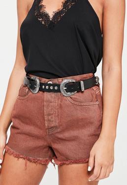 Cinturón western de doble hebilla en negro