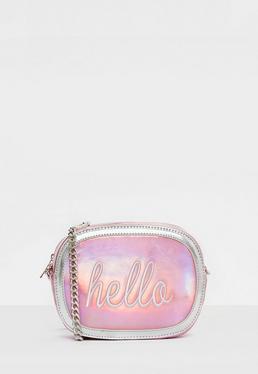 Handtasche mit Hello-Grafik in Holo Pink
