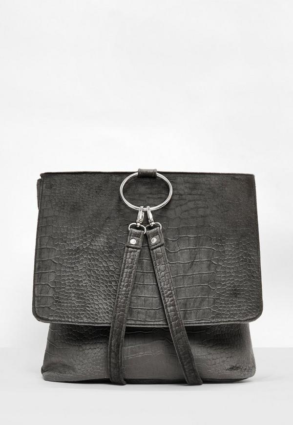 Grey Velvet Croc Pattern Backpack