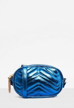 Bolso bandolera acolchado en azul