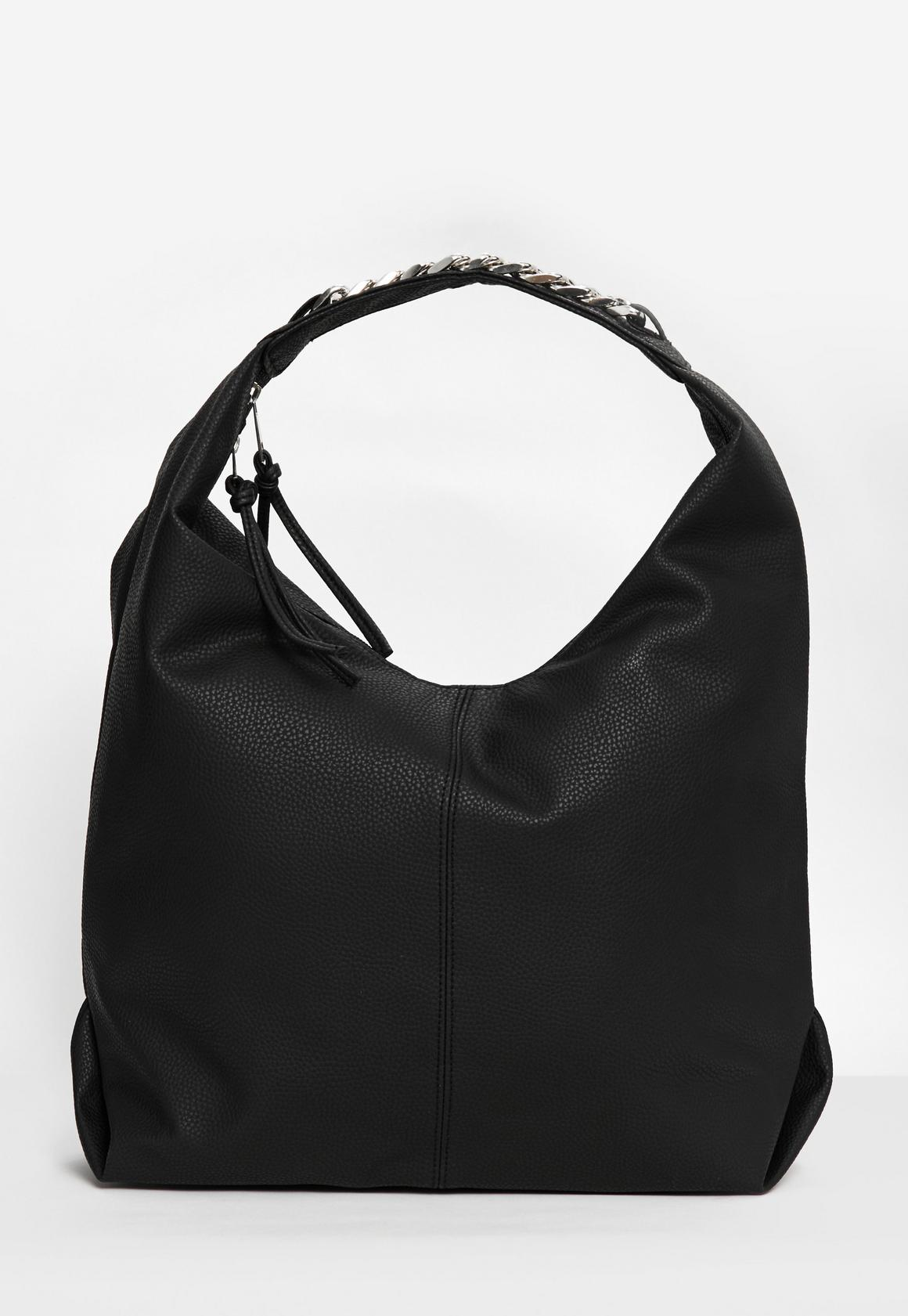 black slouch hobo bag with chain trim | Missguided