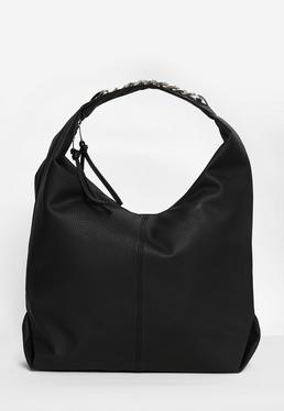 black slouch hobo bag with chain trim