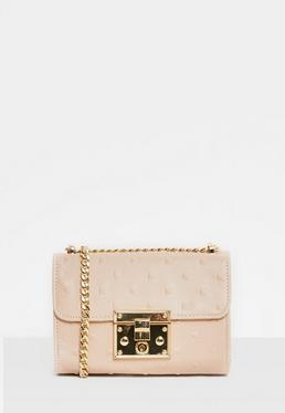 Pink Tonal Studded Cross Body Bag
