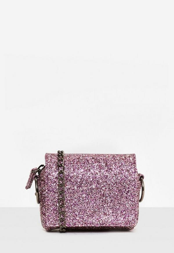 Pink Glitter Chain Strap Mini Cross Body Bag