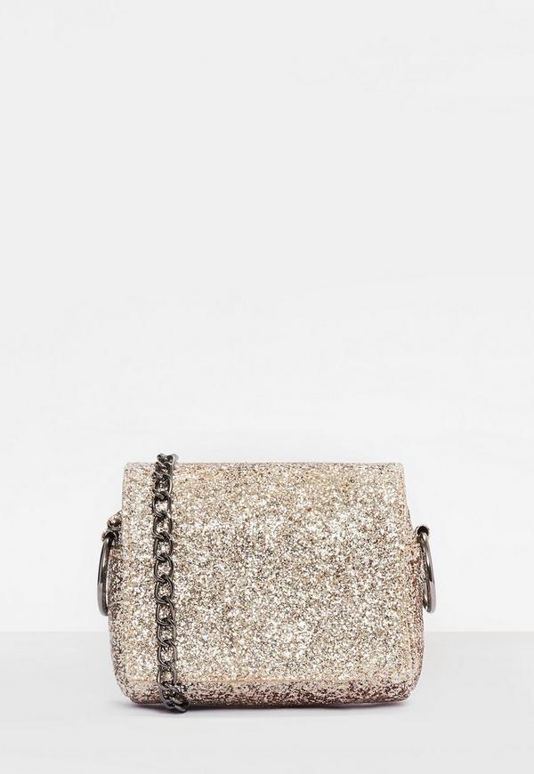 Gold Glitter Chain Strap Mini Cross Body Bag