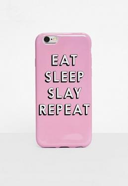 Funda para Iphone 6 con eslogan eat sleep slay repeat en rosa