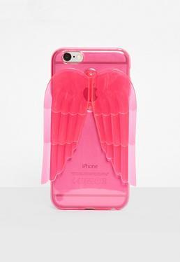 Funda para Iphone 6 con alas de ángel en rosa