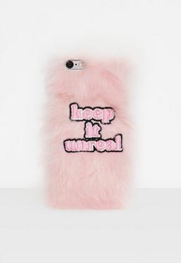 Funda para iphone 6/6S de pelo sintético con eslogan Keep it Unreal en rosa