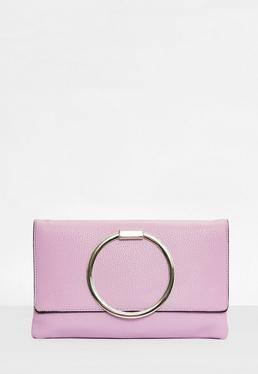 Lilac Circle Handle Clutch Bag